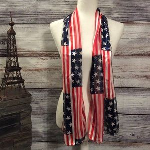 Accessories - American Flag Long Silk Scarf